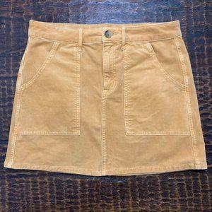 AE   High-waisted corduroy curvy A-line skirt